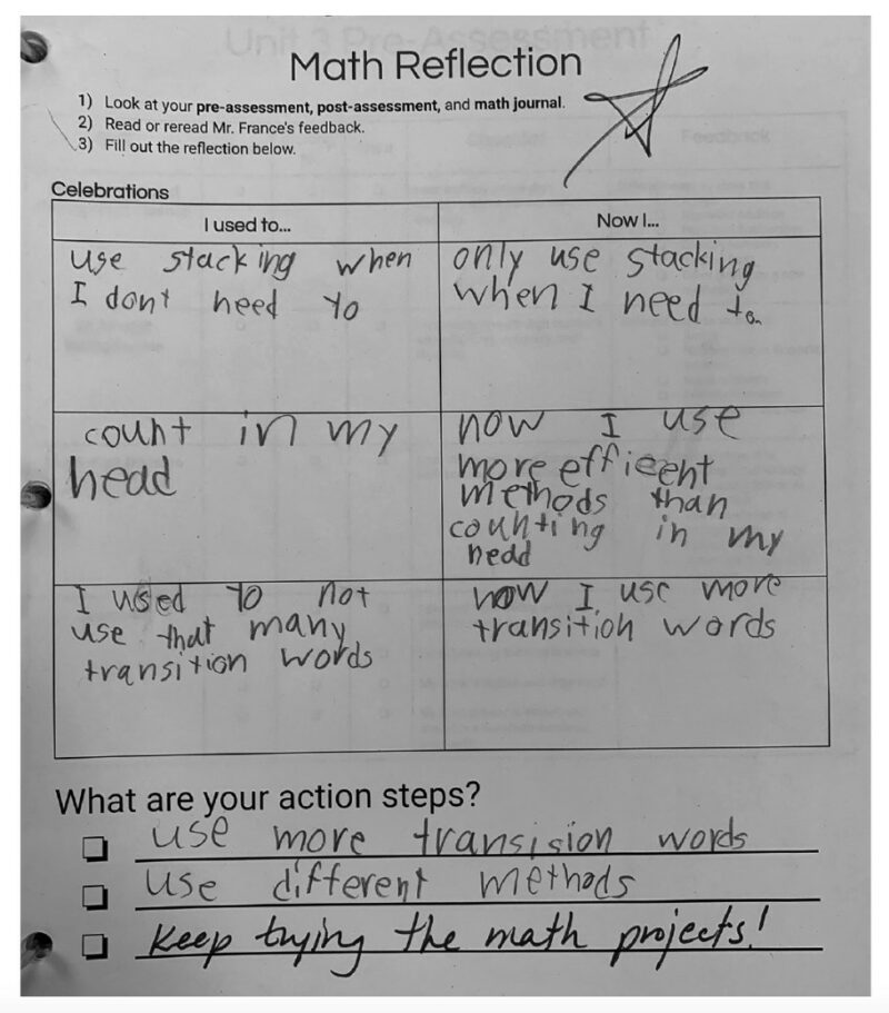 Student reflection from math class