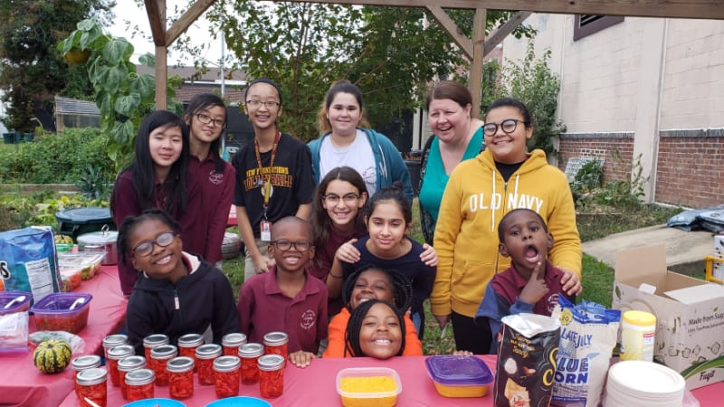 Students doing service learning project called Caring for Kids Project