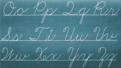 Cursive text written in chalk on blackboard -- subjects teachers want back in the classroom