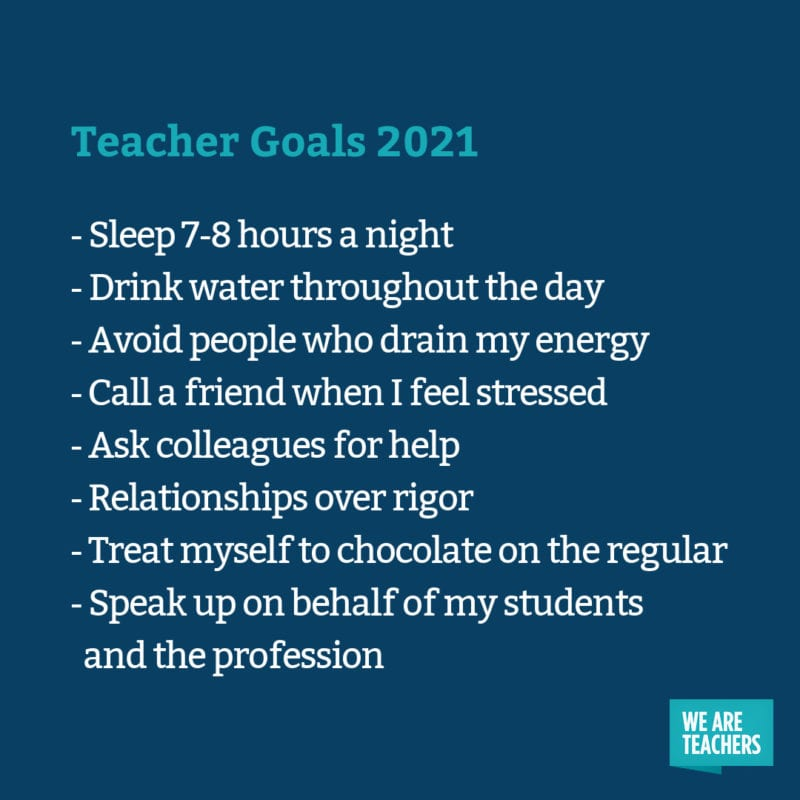 Sleep 7-8 hours a night, drink water throughout the day, avoid people who drain my energy, call a friend when I feel stressed, ask colleagues for help, relationships over rigor, treat myself to chocolate on the regular, speak up on behalf of my students and the profession