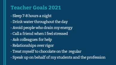 This is an image of goals for teachers in 2021. These goals focus on health and well-being and are goals for teachers who are in survival mode in 2020.