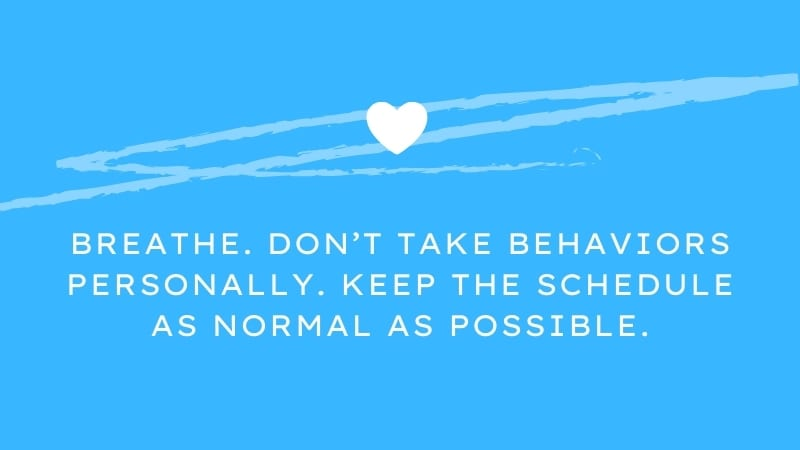 Breathe. Don't take behaviors personally. Keep the schedule as normal as possible.
