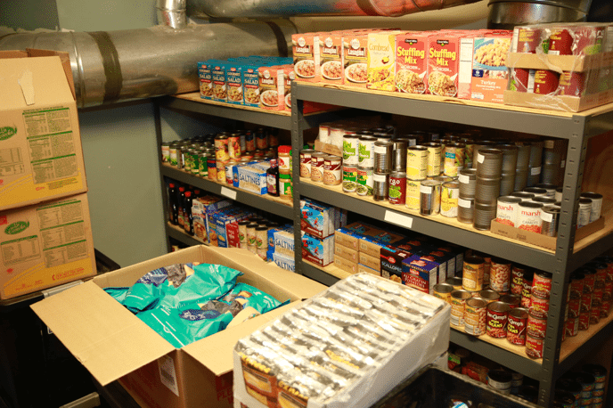 Canned goods in food pantry
