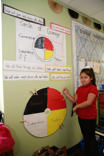 First grade girl standing in front of the Circle of Courage bulletin board in her classroom.