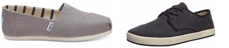 TOMS slip ons in gray and sneakers in black (Teacher Shoes)