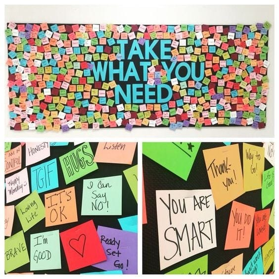 Rainbow take what you need with sticky notes
