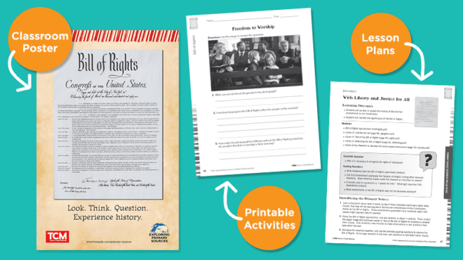Images of Bill of Rights poster, lesson plan, and worksheet