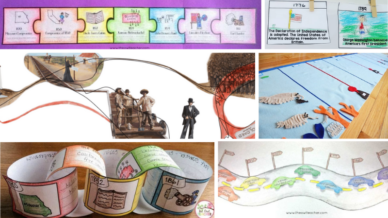 Six images of different activities about the historical timeline.