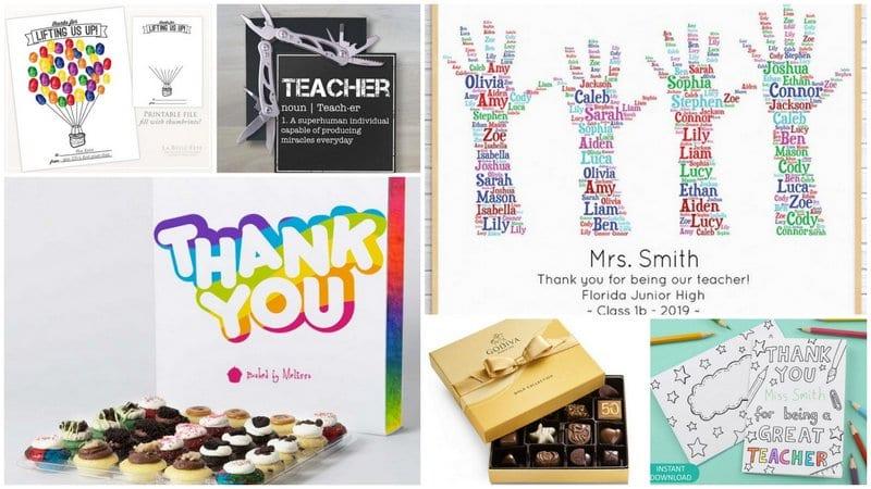 Collage of best teacher appreciation gifts