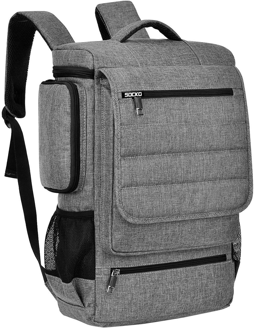 Boxy gray backpack with black accents (Best Teacher Backpacks)