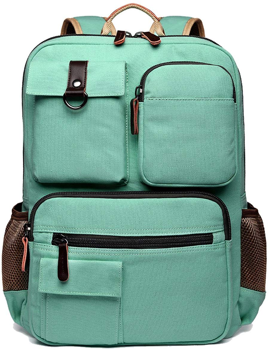 Mint green backpack with exterior pockets