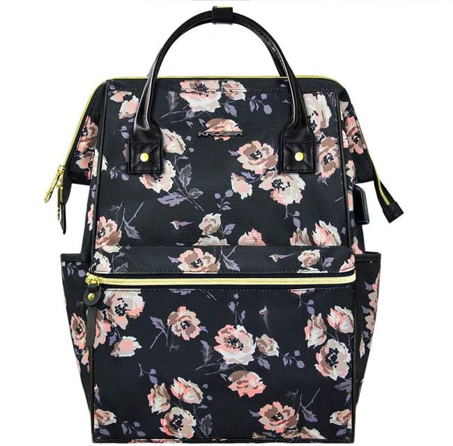 Black and pink floral backpack with top zipper opening and side pockets (Best Teacher Backpacks)