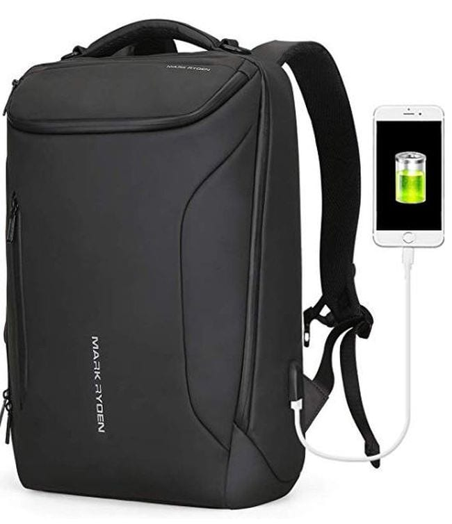 Sleek black backpack with external charging port (Best Teacher Backpacks)