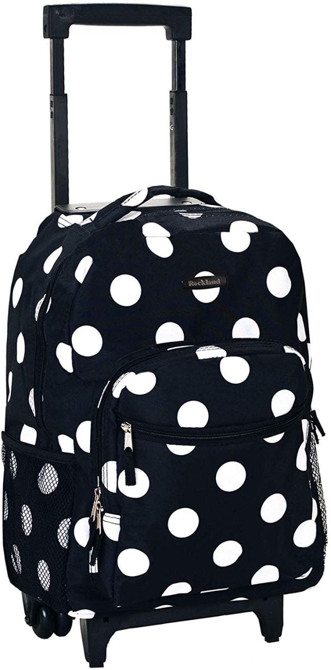 Black and white polka-dotted rolling backpack with extendable handle (Rolling Bags for Teachers)