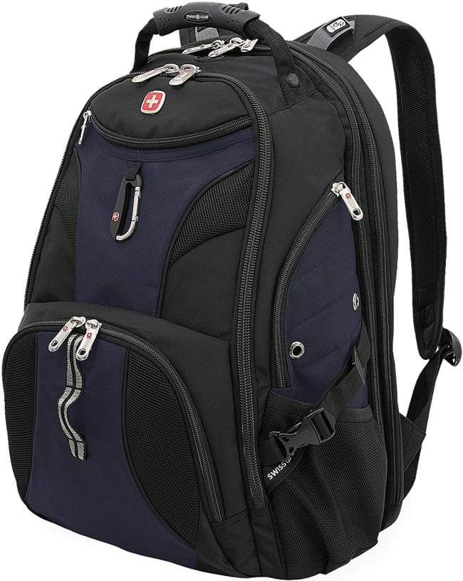 Navy blue and black Swiss Gear backpack