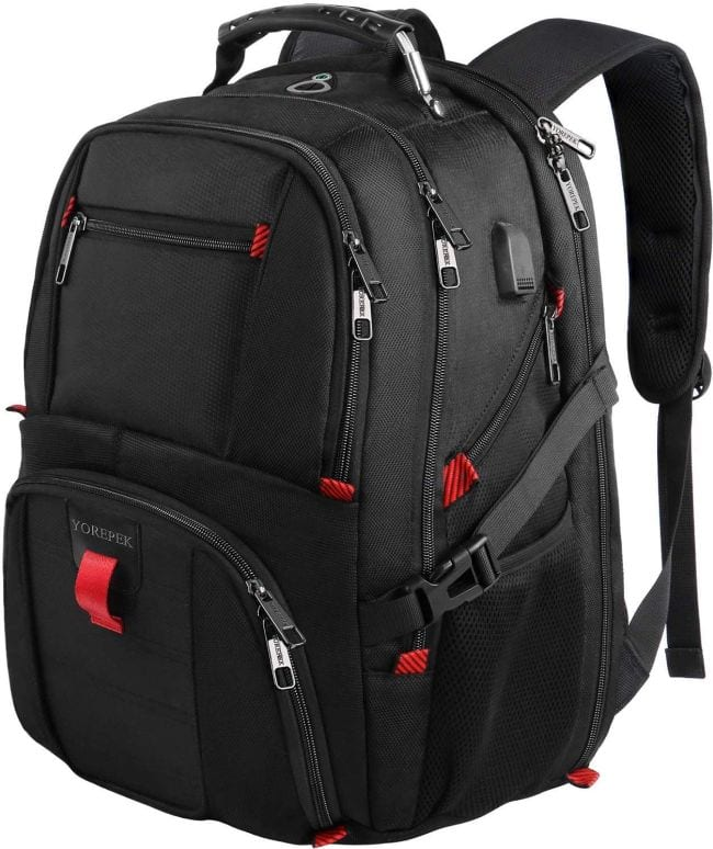 Oversized black backpack with red accents (Best Teacher Backpacks)