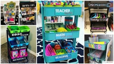 Six Images of Teacher Cart Ideas with Labels.