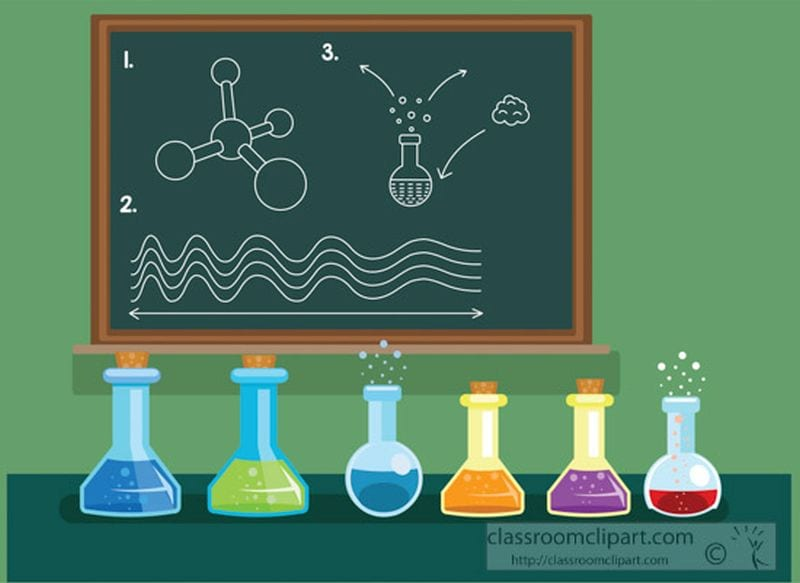 Illustration of row of beakers on a table in front of a chalkboard (Best Teacher Clipart)
