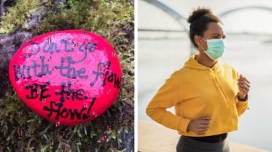Two separate images of an African American woman jogging with a mask on and a rock painted pink with words in black paint.