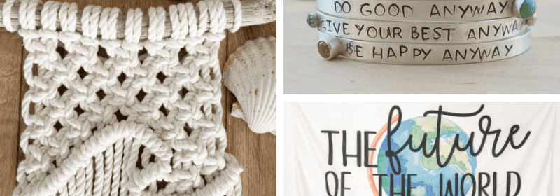 A bracelet, t-shirt, and art sold by teachers