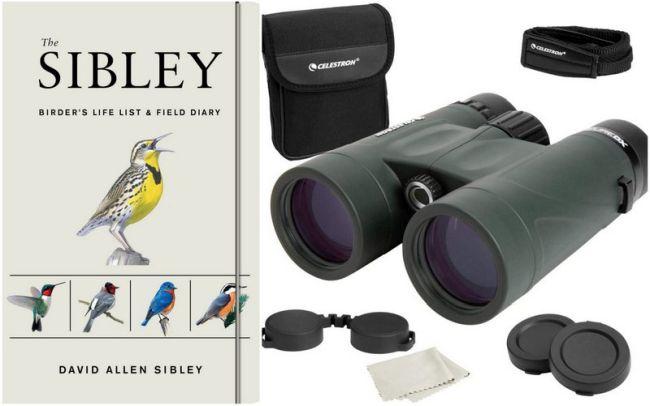 Sibley Birding Diary and Celestron Nature binoculars (Teacher Retirement Gifts)