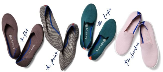 Rothy's ballet flats in a variety of styles and colors