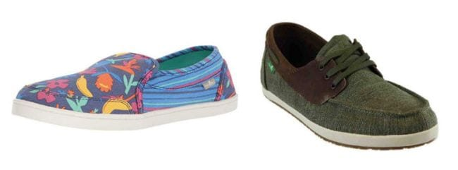 Sanuk Women's Pair O Dice Loafer Flats in tropical print and Men's Casa Barco Vintage Boat Shoes in green