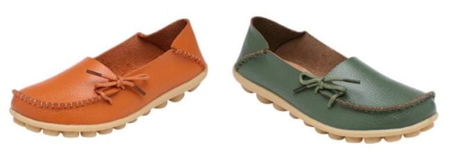 Serene Driving Loafers in orange and green
