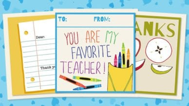Printable Teacher Thank You Cards