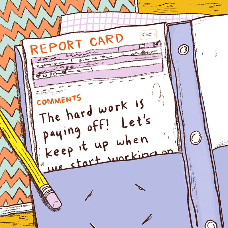 Illustration of Report Card in Folder - Sample Report Card Comments