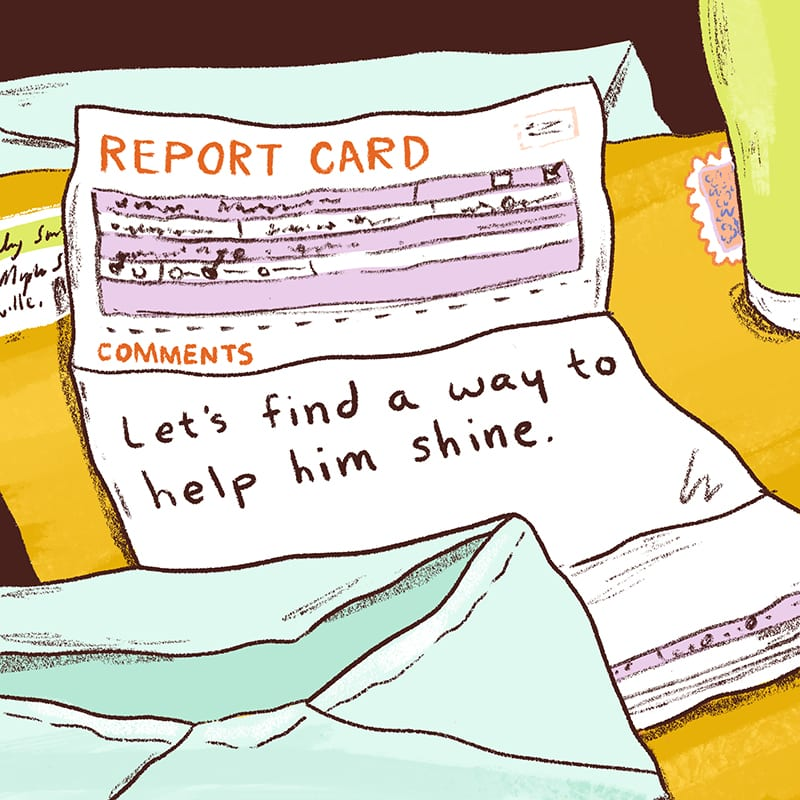 Illustration of Report Card on Desk: Sample Report Card Comments