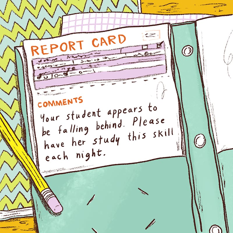 Illustration of Report Card in Folder on Desk - Sample Report Card Comments