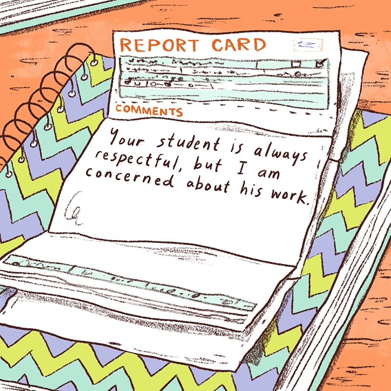 Illustration of Report Card on Folder: Sample Report Card Comments