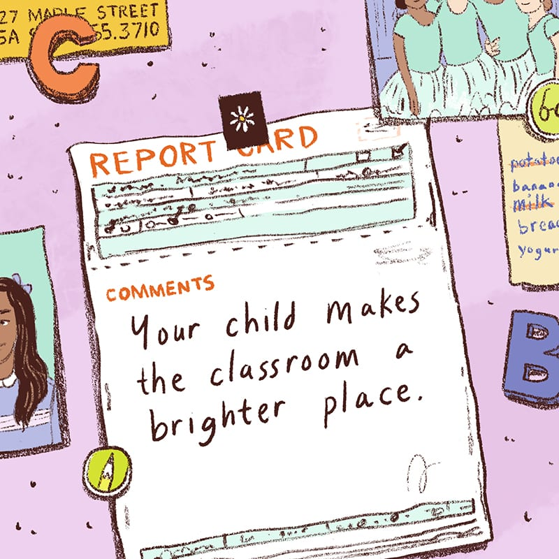 Illustration of Report Card on Fridge - Sample Report Card Comments