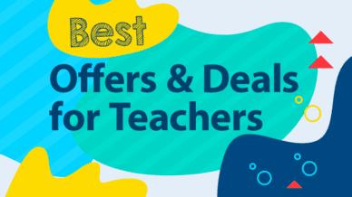 """A colorful images with the words, """"Best Offers and Deals for Teachers."""""""