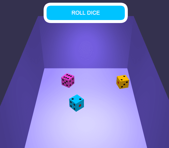 chute with three colored dice on the surface