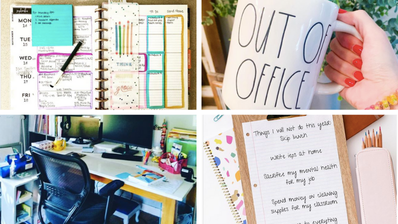 "Four different images of a coffee cup that reads, ""Out of Office,"" a teacher's desk, and two different, colorful planners."