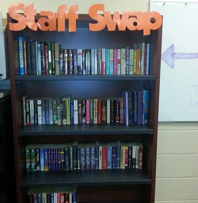 Bookshelf labeled Staff Swap from Melissa Zonin on Pinterest