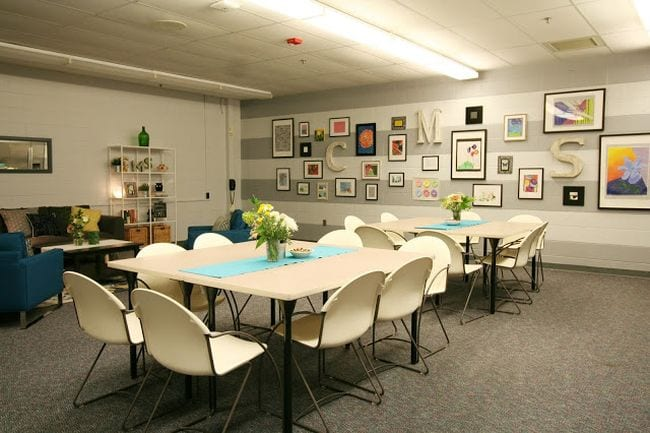 Teachers lounge with striped gallery wall from Restyle It Wright