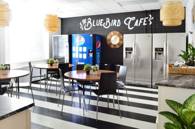 Black and white themed lounge called Bluebird Cafe from Young House Love