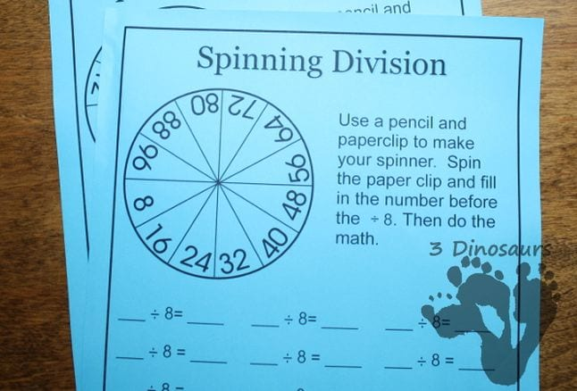 Spinning Division worksheet with spinner wheel and division problems with blanks