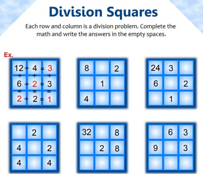 Division Squares: Each row and column is a division problem. Complete the math and write the answers in the empty spaces.