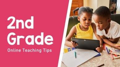 Still of kids learning second grade online teaching tips