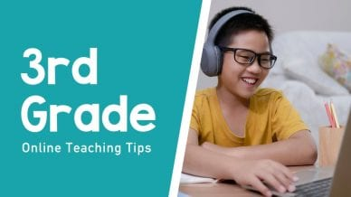 Still of child wearing headphones third grade online