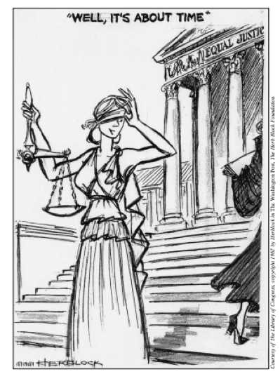 Political cartoon of Supreme Court Justice Sandra Day O'Connor