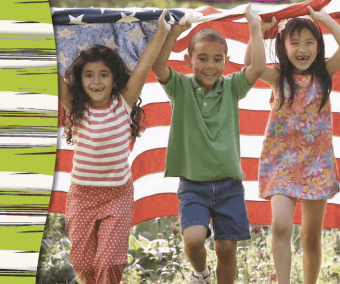 Three children running with a big American flag