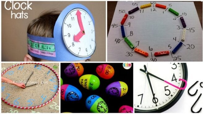 Collage of Telling Time Activities