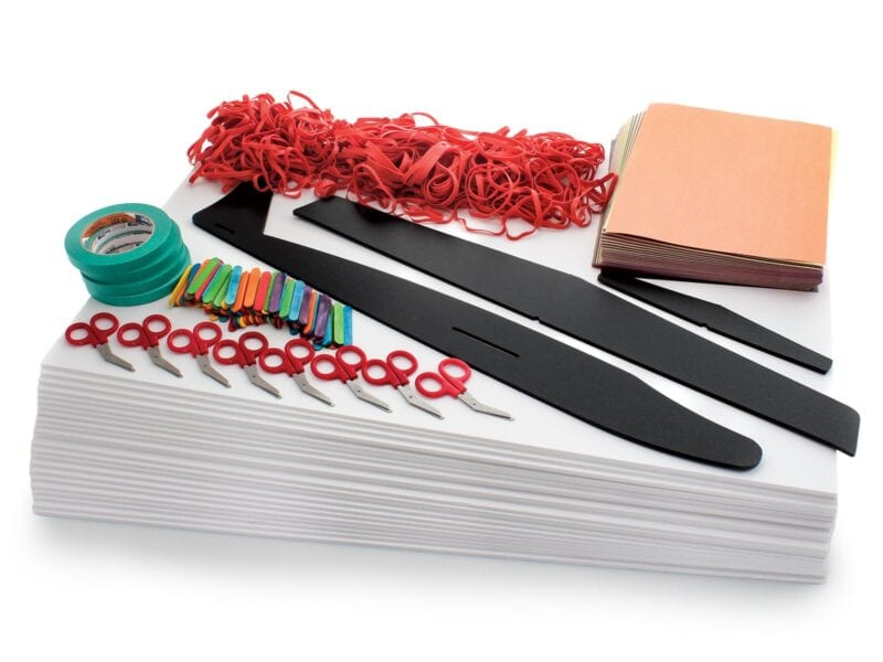 components of a glider science experiment kit for kids