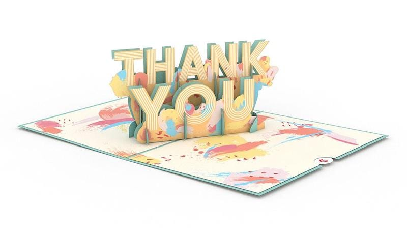 Thank you popup card with pastel yellow, green, and pinks.