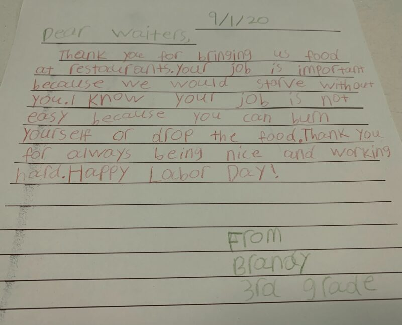 Letter written by third grader to community helper